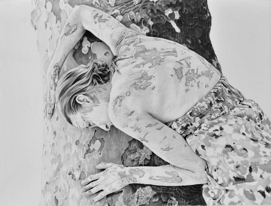 """""""Mon ancêtre Silvana"""", crayon sur papier 50 x 65 cm"""