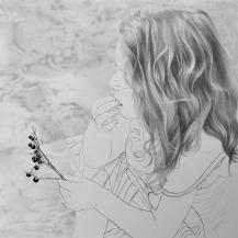 Vers les pelouses dunaires. Crayon graphite sur papier, 29,5 x 29,5 cm